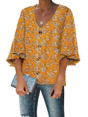Yellow Trumpet Sleeve Floral Print Button Down Blouse