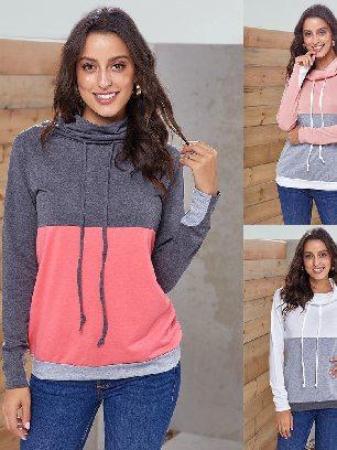 Supply Colorblock Thumbhole Sleeved Plus Size Sweatshirt
