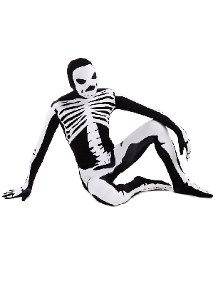 Black and White Skull Full Body Morph Costume Halloween Spandex Holiday Unisex Cosplay Zentai Suit