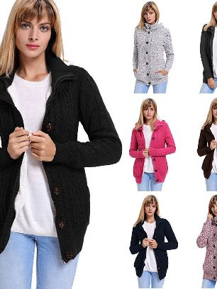 Supply Single Row Button Long Sleeve Hooded Cardigans