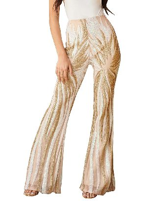 Apricot Chic Sequin Kick Flare high waist Pants