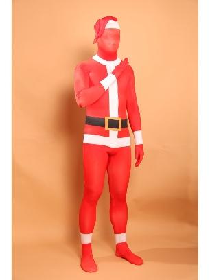 Red Christmas Sata Clause Halloween Full Body Morph Costume Spandex Holiday Unisex Lycra Morph Zentai Suit