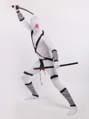 White Japanese Ninja Halloween Full Body Morph Costume Spandex Holiday Unisex Lycra Morph Zentai Suit