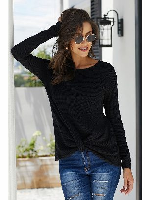 Supply Waist Knot Your Girlfriend Thermal Knit Casual Top