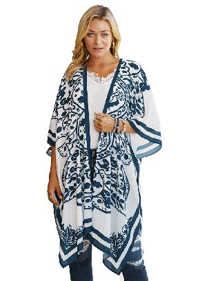 White Loose Cloak Flower Printing Medallion Kimono