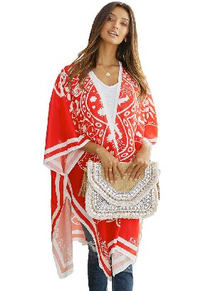 Red Loose Cloak Flower Printing Medallion Kimono