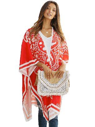 Supply Red Loose Cloak Flower Printing Medallion Kimono