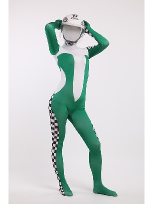 Green Formula One Full Body Morph Costume Spandex Holiday Unisex Cosplay Zentai Suit