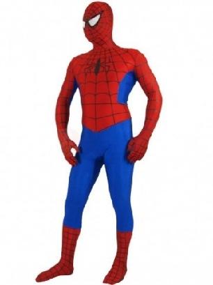 Red and Blue Lycra Spandex Morph Zentai Spiderman Zentai Costume