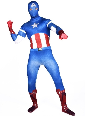 Blue Captain America Full Body Morph Costume Halloween Spandex Holiday Unisex Cosplay Zentai Suit