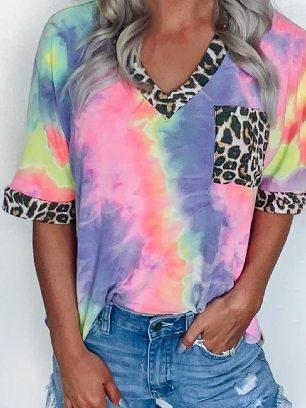 Supply Short-sleeved Hypnotized Tie Dye Stitching Leopard Top