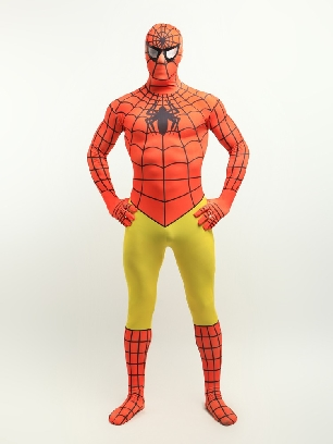 Orange and Yellow Spiderman Super Hero Full Body Morph Costume Spandex Holiday Unisex Lycra Morph Zentai Suit