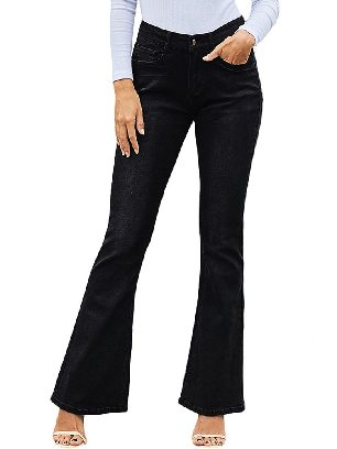 Black Wash Vintage Wide Leg High Waist Flared Jeans