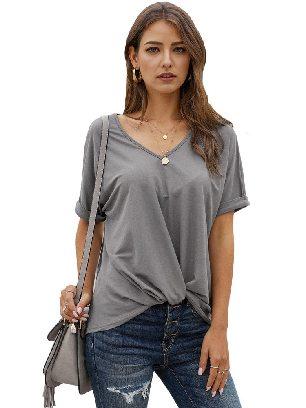 Gray Women Short Sleeve Plain Casual Twist Tee