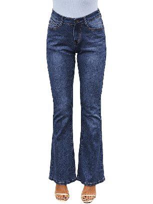 Dark blue Wash Vintage Wide Leg High Waist Flared Jeans
