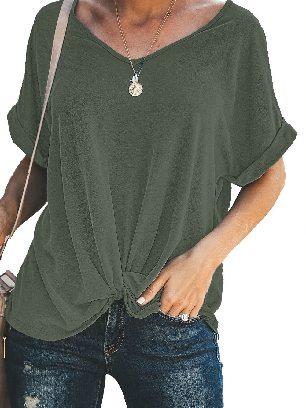 Green Women Short Sleeve Plain Casual Twist Tee