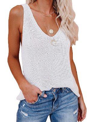 White Women Summer Knit Tank Top