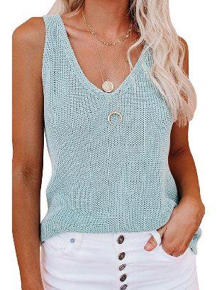 Light Blue Women Summer Knit Tank Top