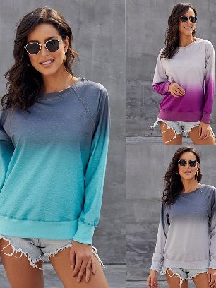 Gradient Ombre Crewneck Long Sleeve Casual Sweatshirt