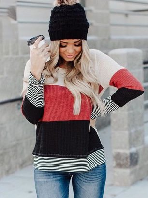 Supply Autumn Winter Fashion Splicing Striped Sweater Stylish Colorblock Top