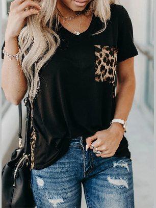 Supply Short-sleeved Leopard Printed Splicing Summer Loose T-Shirt