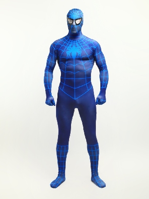 Deep Blue Spiderman Super Hero Halloween Full Body Morph Costume Spandex Holiday Unisex Lycra Morph Zentai Suit