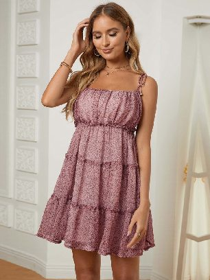 Supply Sling A-line Layered Ruffled Floral Multilayer Cake Dress