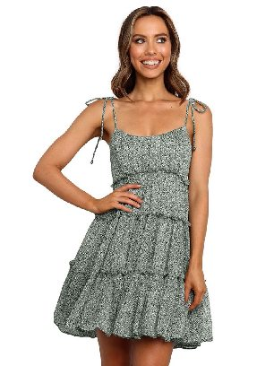 Light Green Sling A-line Layered Ruffled Floral Multilayer Cake Dress