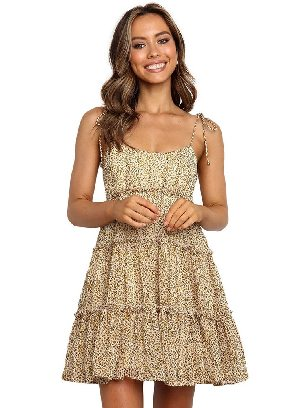 Yellow Sling A-line Layered Ruffled Floral Multilayer Cake Dress