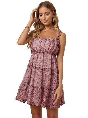 Pink Sling A-line Layered Ruffled Floral Multilayer Cake Dress