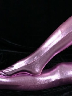 ZENTAI Pink Zentai Costume Shiny Metallic Stockings
