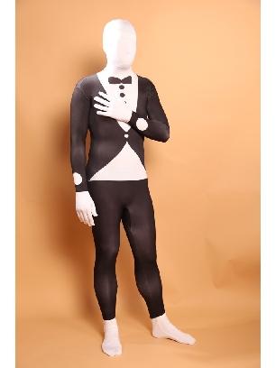 Black and White Halloween Bowtie Full Body Morph Costume Spandex Holiday Unisex Lycra Morph Zentai Suit