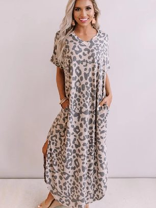 Casual Leopard Print Maxi Dress with Slits