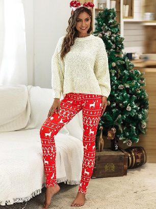 2020 Christmas Snowflake Elk Print Home Leggings