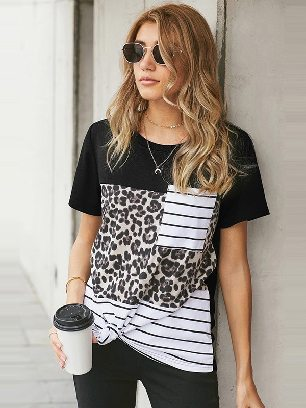 Supply Leopard Stitching Slim Camo Pocket T-Shirt