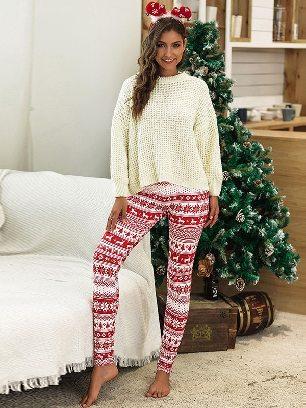 No. 7 2020 Christmas Snowflake Elk Print Home Leggings