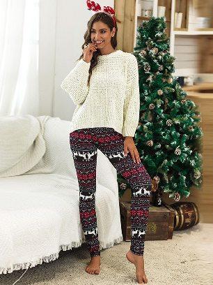 No. 3 2020 Christmas Snowflake Elk Print Home Leggings