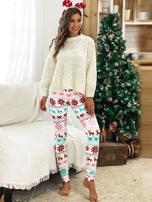 No. 2 2020 Christmas Snowflake Elk Print Home Leggings