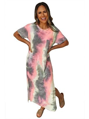Gray Short-sleeved Tie Dye Split Maxi Dress