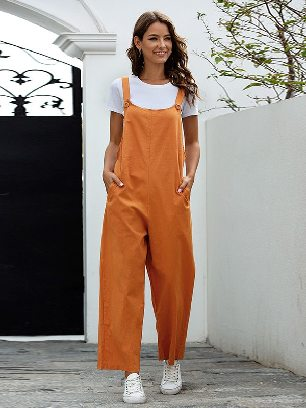 Retro Casual Long Style Overalls