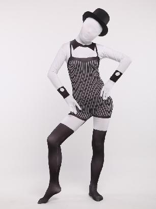 Balck and White Servant Full Body Morph Costume Spandex Holiday Unisex Cosplay Zentai Suit