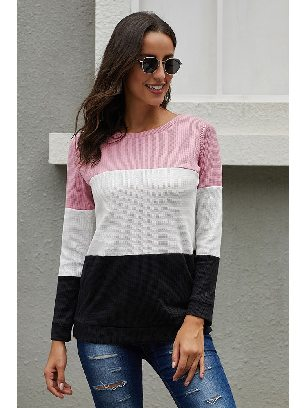 Supply Long-sleeved Pullover Miller Colorblock Cozy Fall Winter Warm Top