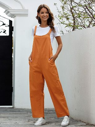 Orange Retro Casual Long Style Overalls