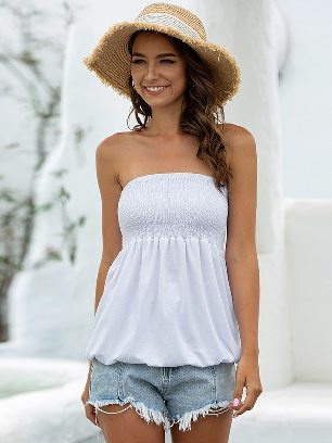 White 2020 New Style Summer Sexy Cold Shoulder Tube Top