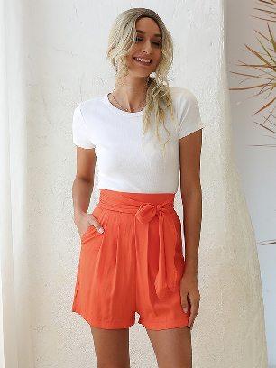 Orange Loose High Waist Retro Tie Wide Leg Shorts