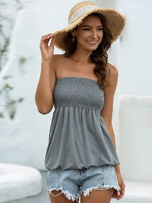 Gray 2020 New Style Summer Sexy Cold Shoulder Tube Top