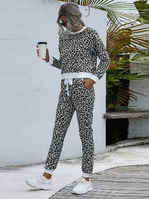 Black white leopard Round Neck Leopard Print Casual Home Suit