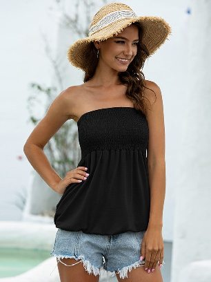 Black 2020 New Style Summer Sexy Cold Shoulder Tube Top