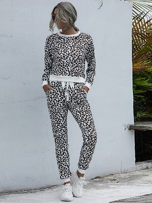 Primary color leopard print Round Neck Leopard Print Casual Home Suit