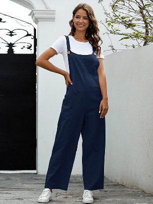 Navy blue Retro Casual Long Style Overalls